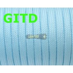Флуоресцентный (светящийся в темноте) паракорд, GITD paracord светло-голубой