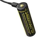 Литий-ионный аккумулятор 18650 Nitecore с USB зарядкой NL1834R USB 3400mAh с защитой
