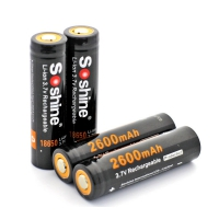 Литий-ионный аккумулятор 18650 Li-Ion Soshine  3.7V 2600mAh с защитой
